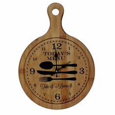 'Todays menu - take it or leave it Shabby Chic Chopping Board Shaped Wall Clock