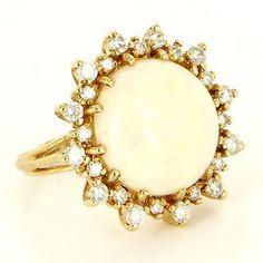 Vintage 14 Karat Yellow Gold Diamond Opal Cocktail Ring Fine Estate Jewelry 5.5 $1395