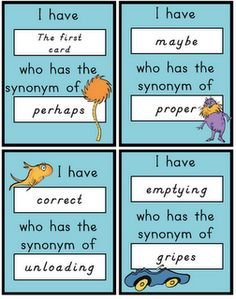I have....who has..... with synonyms! Love this!  You can use this idea for so many things...vocabulary review, math facts, opposites...the list goes on.