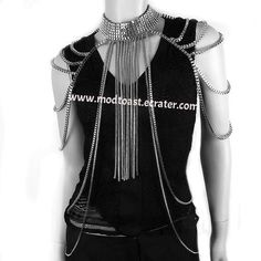 Body Chain Fringe Layered Armor Silver Chains Cage Avant Garde Jewelry Fashion Statement @Mod†oas†