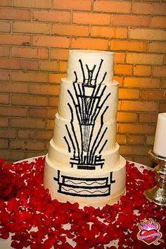 Art deco cake that matches their invite.