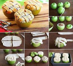 "pie crust 6granny smith appls 1/4 cup sugar + 1Tbsp brown  1/4tsp cinnamon Oven at 375. Cut off top of 4 apples & spoon off the inside, do not cut peel. Peel skin of other 2 apples & slice thinly will be filling for the 4 apples you'll bake, mix with sugars & cinnamon & scoop into hollow apples. Cut pie crust in 1/4"" strips & cover top of apples with it, put in pan & add enough water to cover bottom. Cover with foil & bake 20-25 min. Remove foil & bake 20 + min til crust is golden & apples…"