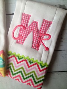 Personalized Baby Burp Cloth Set by LauraKateMonograms on Etsy