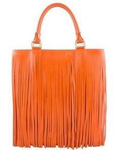 A SURE HEAD TURNER!  Authentic Etasico Italian leather handmade in Italy handbag - Orange fringe bohemian genuine leather tote bag on sale at BagMadness.com  #fringehandbags #orangebags #orangehandbags #leatherhandbags #genuineleatherbags #italianhandbags