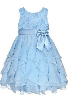 Baby blue chiffon tiered lace round neck A-line bowknot  girls dress  with straps
