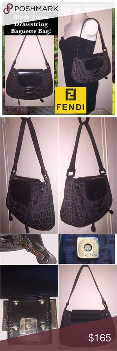"VTG Fendi Italy Zucca Drawstring Baguette Bag! Vintage Fendi Italy Black/Brown Zucca Drawstring Baguette Bag! Features: 100% authentic, Made in ITALY, Black Jacquard material, black patent leather trim, FENDI ""FF"" Zucca design, drawstring pull under flap, 1 interior slip pocket, Magnetic snap closure, FENDI hardware & black lining. Fendi authenticity hologram & serial no. on inside.   7"" high x 9 1/2"" across (top), 11"" across (bottom) x 3"" wide. 9"" shoulder clearance. Minor strap wear…"