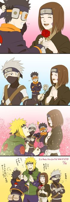 Kawaii 💠 ~ Minato, Kakashi, Obito e Rin. Naruto Shippuden Sasuke, Anime Naruto, Sasuke Sakura, Fan Art Naruto, Kakashi And Obito, Naruto Cute, Otaku Anime, Boruto, Naruto Kakashi Funny