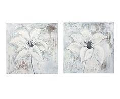 Set de 2 cuadros pintados a mano Flor - 80x80 cm