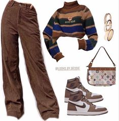 Indie Outfits, Teen Fashion Outfits, Retro Outfits, Swaggy Outfits, Cute Casual Outfits, Tomboy Fashion, Streetwear Fashion, Vetement Fashion, Brown Outfit