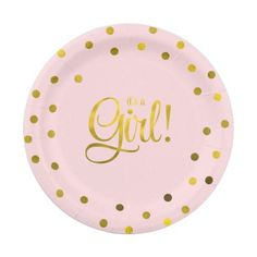 Pink and Faux Gold Foil Girl Baby Shower 7 Inch Paper Plate  sc 1 st  Pinterest & Dessert Plate Pink Confetti 12pc | Pinterest | Confetti Birthdays ...