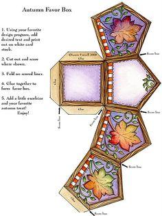 Printable print and cut autumn gift box 3d Paper, Paper Toys, Paper Crafts, Paper Box Template, Box Templates, Decoupage Printables, Printable Box, Print Box, Diy Box