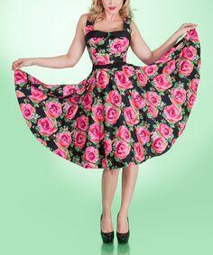 Tatyana Black & Pink Night Bloom Dress - Women & Plus   zulily
