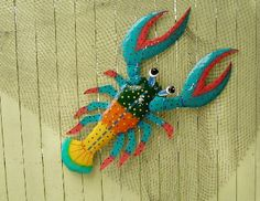 44in Hand crafted metal Funky Lobster wall art