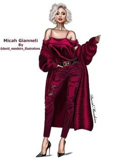 Fashion Illustration Micah Gianneli by David Mandeiro Fashion Illustration Sketches, Illustration Mode, Fashion Sketchbook, Fashion Design Sketches, Design Illustrations, Fashion Art, Girl Fashion, Fashion Dresses, Drawing Fashion