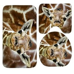 SSOIU 3 Piece Bath Mat Set Baby Giraffe NonSlip Bathroom Mats Contour Toilet Cover Rug *** Check out this great product. (This is an affiliate link and I receive a commission for the sales)