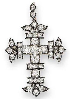 An early 19th century diamond cross pendant, circa 1820
