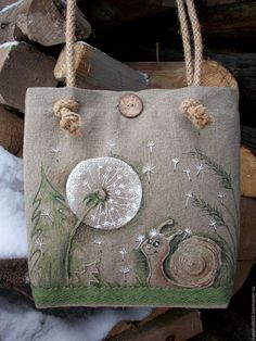 Linen bag with painting and embroidery.Ul'yanka and dandelion Bags & Accessories handmade. Buy Linen bag with painting and embroidery.Ul'yanka and dandelion. Embroidery Bags, Japanese Embroidery, Embroidery Patterns, Machine Embroidery, Patchwork Bags, Quilted Bag, Jute Bags, Craft Bags, Linen Bag