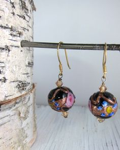 Earrings Black Floral Murano Glass Lampwork by SusanHeleneDesigns, $35.00