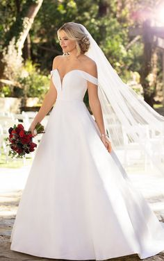 Modern, sleek wedding dress idea - a-line wedding dress with off-the-shoulder neckline- Style Essense of Australia - Learn more about this dress on WeddingWire! dresses modern sleek Wedding Dress out of Essense of Australia - Sleek Wedding Dress, Dream Wedding Dresses, Designer Wedding Dresses, Bridal Dresses, Essence Wedding Dresses, Satin Wedding Dresses, Ballgown Wedding Dress, Bardot Wedding Dress, Lace Wedding