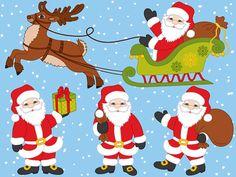 Купить 1 получить 2 бесплатно - Санта-Клаус клипарт - цифровой вектор Санта, олени, Клаус, Санки, Xmas Санта клип Искусство для личного и коммерческого использования