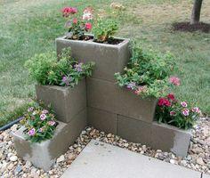 DIY cinder block planters