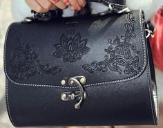 5cf55e006b Rustic Charm Vintage Women Shoulder Bag Leather Embossed Solid Color  Messenger Bags Black or Brown