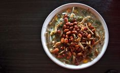 'Bubur Pedas' is a porridge from Pontianak, which consists of rice porridge, veggies, fried anchovies, and peanuts. Delicious!
