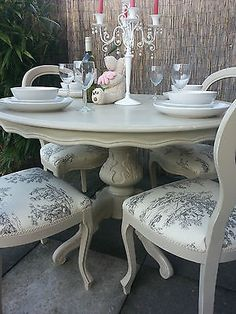French Shabby Chic Louis Dining Table and Balloon Back chairs - Annie Sloan Painted with Annie Sloan chalk paint in the 'Country Grey' shade over the 'Old White' shade.