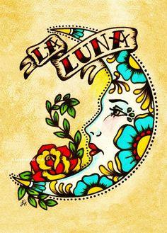 Alte Schule Tattoo Mond Kunst LA LUNA Loteria Print 5 x 8 x 10 oder 11 x 14 - Tattoo ideas - Tattoo-Ideen Tattoo Mond, 1 Tattoo, Tattoo Flash, Half Moon Tattoo, Tattoo Pics, Card Tattoo, Small Tattoo, La Luna Tattoo, Stars And Moon