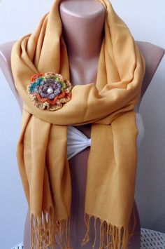 Bridesmaid pashmina Mustard pashmina shawls by elegancescarf, $19.90