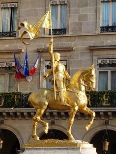 Gilt bronze : Emmanuel Frémiet, Equestrian statue of Joan of Arc, Place des Pyramides, Paris, 1874 #fremiet #statue #paris #gilt #bronze #19thcentury #french #antique