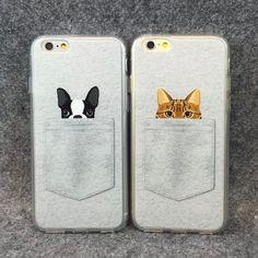 Encontrar Más Fundas para Móvil Información acerca de 2015 recién llegado de Pocket perros pequeños y gatos patrón encantador Soft TPU caja del teléfono para el iPhone 6 4.7 '' YC808, alta calidad Fundas para Móvil de Welcome to China--Offer Drop Shipping en Aliexpress.com