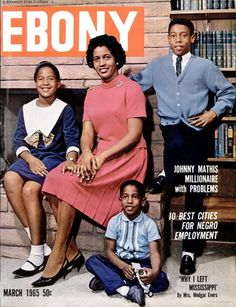 Mrs. Medgar Evers and her children featured in the March 1965 edition of Ebony.