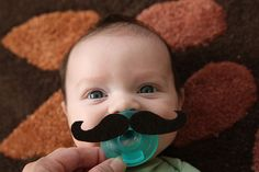 Felt handlebar mustache for pacifiers! Watch out (future) nephews!!