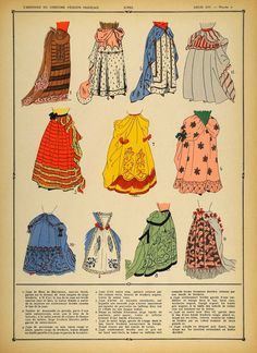 1922 Pochoir Louis XIV Costume French Women Skirts NICE - ORIGINAL COS - Period Paper