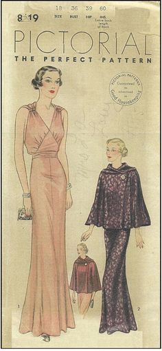 T8119 1930s Evening Gown with Optional Jacket Sewing Pattern Hollywood Glam | eBay