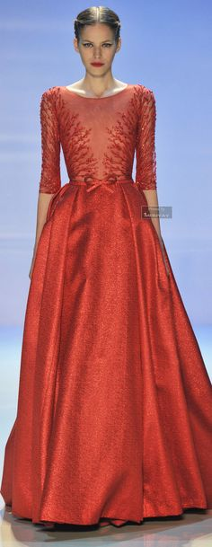 Georges Hobeika Fall-winter 2014-2015 ~ gorgeous burnt-red, long-sleeved, full-length ball gown, with the prettiest detailing on the bodice and sleeves;  looks like red branches!!!  And I love trees!  :)