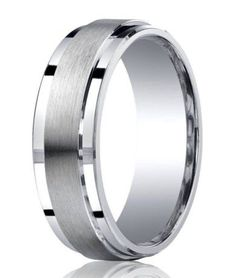 This contemporary Benchmark Argentium silver wedding ring for men features a raised satin band flanked by polished step-down edges. $149.95