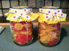 Bee Mason Jar filled with candy for a teacher gift.  Cute!