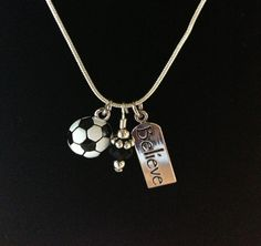 Sporty Girl Soccer Necklace Believe by SportyGirlBoutique on Etsy, $17.00