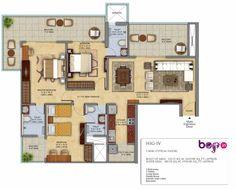 Mahagun Meadows Floor Plan 3BHK (1945 Sq. Ft.) Area