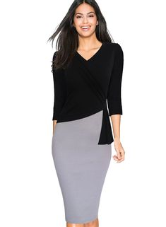 Vfemage Womens Elegant V-neck Wear To Work Office Bodycon Pencil Dress 4330 BLK 14