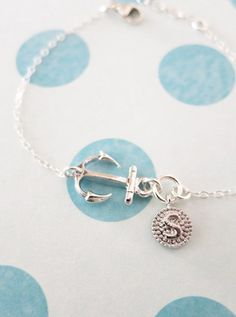 Personalized Silver Anchor and Letter bracelet