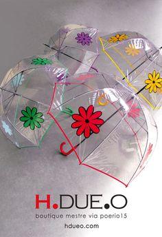 Hippy Flowers Transparent Umbrellas by H.DUE.O