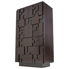 Mosaic Block Brutalist Tall Cabinet or Chest | From a unique collection of antique and modern dressers at https://www.1stdibs.com/furniture/storage-case-pieces/dressers/