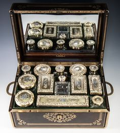 Crown 19th c. Antique French Palais Royal Dressing or Travel Vanity Set, Sterling Silver 18k Vermeil, Garnesson
