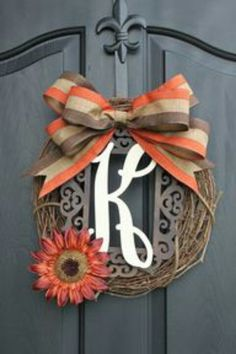Very simple fall colors wreath