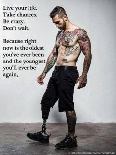 Alex Minsky . wounded soldier, Lost his leg at war, got sober, and became an underwear model.
