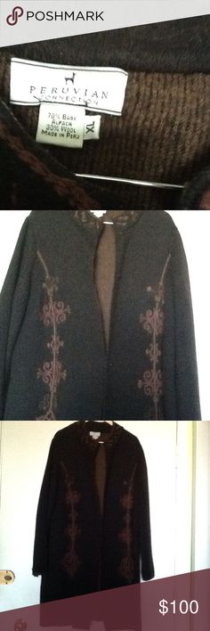 VINTAGE BROWN ALPACA LONG COAT Soft, warm, cozy and exquisite craftsmanship. Peruvian Connection Jackets & Coats