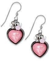 Silver Forest- Silver Tone Silver-Tone Cabochon Heart Drop Earrings